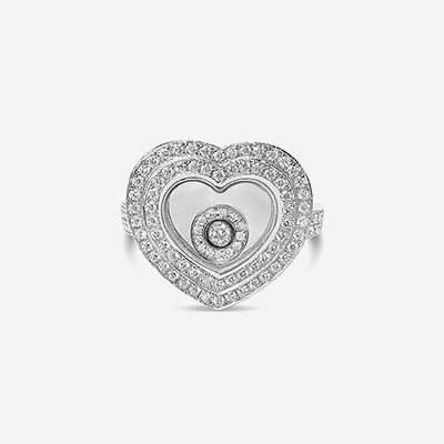 18kt Chopard Heart Shape Happy Sport Diamond Ring