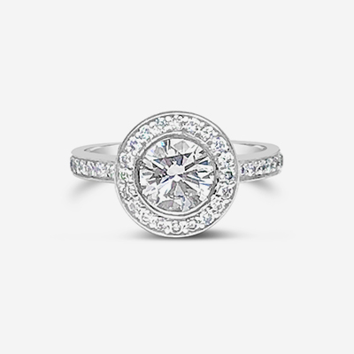 Platinum round center diamond halo engagement ring