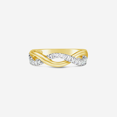 14kt diamond twist wedding band
