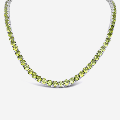 Peridot tennis necklace