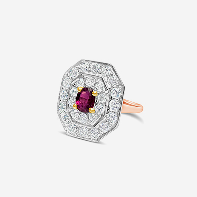 14kt ruby and diamond halo ring