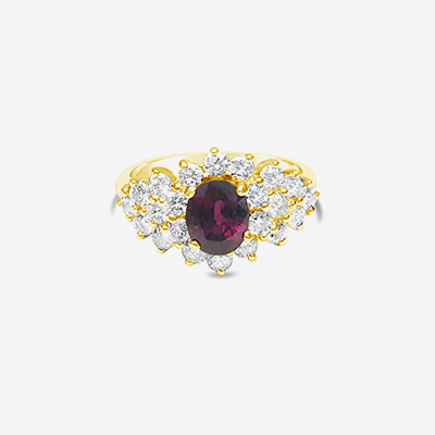 14kt oval ruby and diamond ring