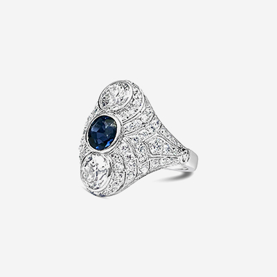 Platinum bezel sapphire and diamond antique ring