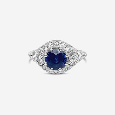 18kt sapphire and diamond antique ring