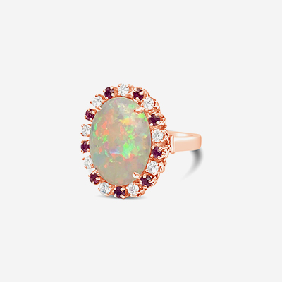 14kt oval opal, ruby and diamond ring