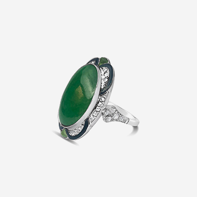 Platinum oval jade and diamond ring