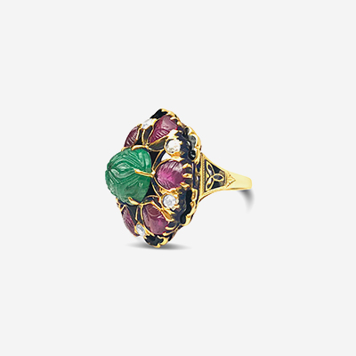 14kt emerald, ruby and diamond ring