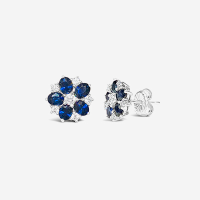 18kt sapphire and diamond stud earrings