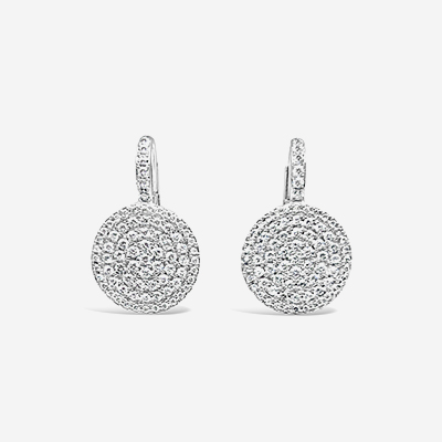 14kt diamond pave disc earrings