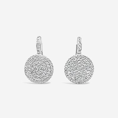 14kt diamond pave disc earrings