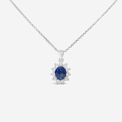 14kt sapphire and diamond pendant