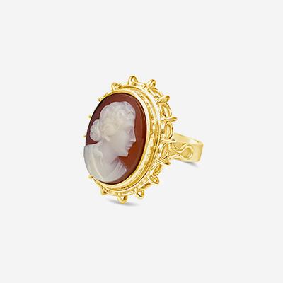 14kt carnelian cameo ring
