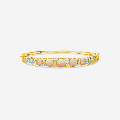14kt opal and diamond bangle bracelet