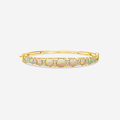 14kt opal and diamond bangle bracelet
