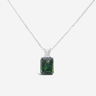 14kt tourmaline and diamond pendant chain