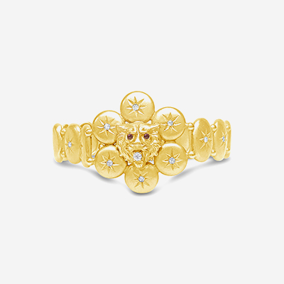 14kt antique lion head bracelet
