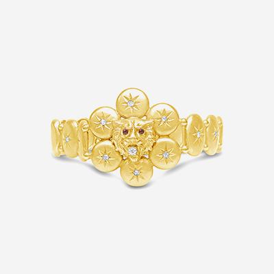 14kt antique lion head bracelet
