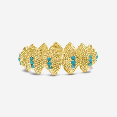 14kt turquoise rope edge bracelet