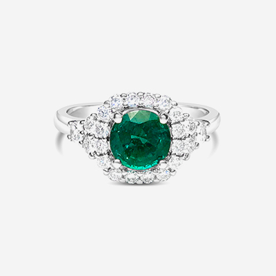 14kt emerald and diamond halo ring