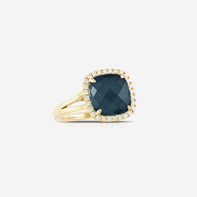 18kt blue topaz and diamond halo ring