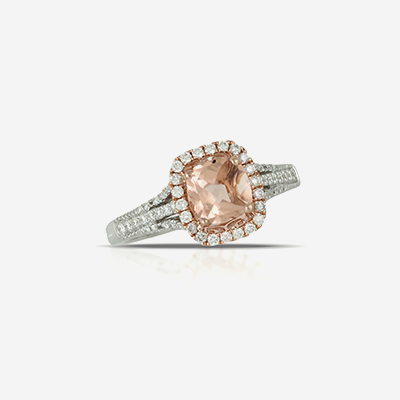 18kt morganite and diamond ring