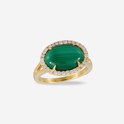 18kt malachite and diamond halo ring