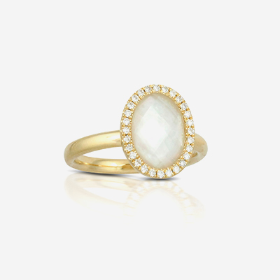 18kt quartz and diamond ring