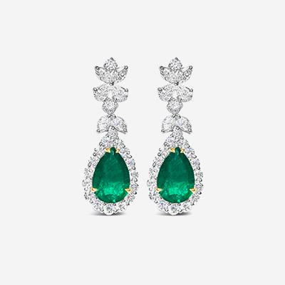 18kt emerald and diamond halo drop earrings