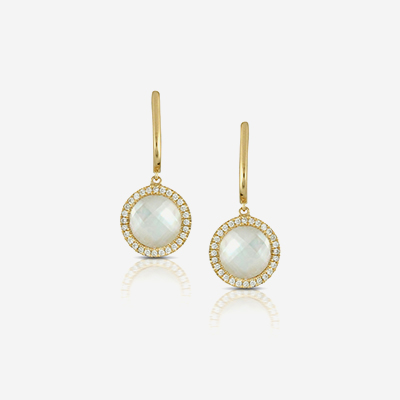18kt quartz and diamonds drop earrings