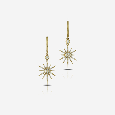 18kt star diamond dangle earrings