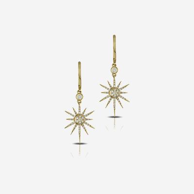18kt star diamond dangle earrings