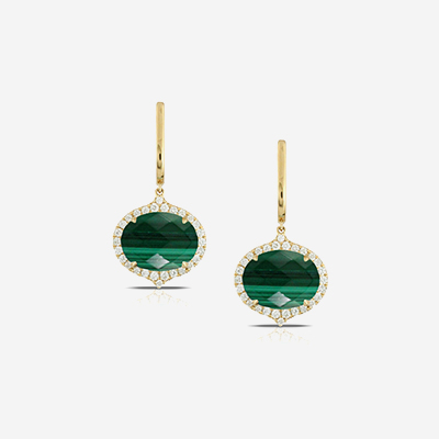 18kt malachite drop earrings