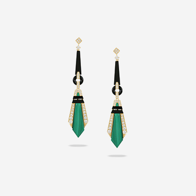 18kt malachite and black onyx dangle earrings