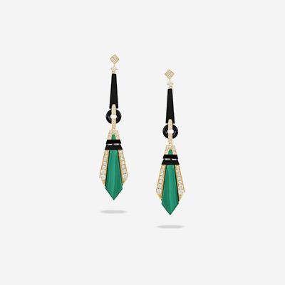 18kt malachite and black onyx dangle earrings