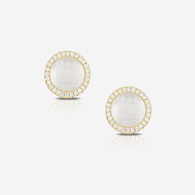 18kt quartz and diamond studs