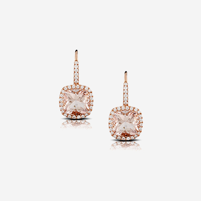 18kt morganite and diamond drop earrings