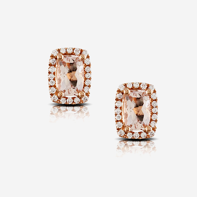 18kt morganite and diamond studs