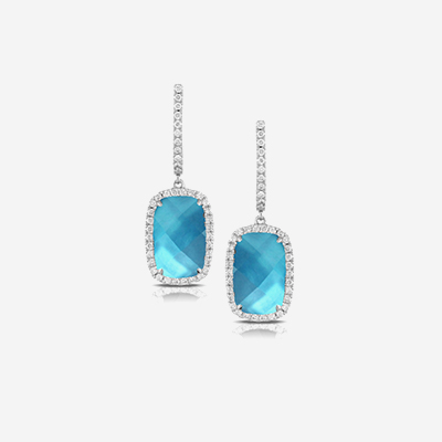 18kt light blue topaz and diamond dangle earrings