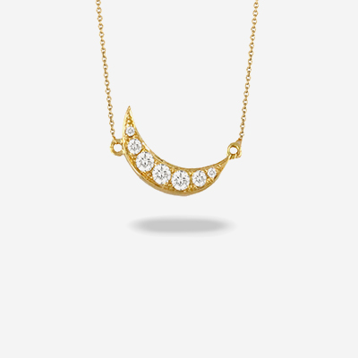 18kt half moon diamond necklace