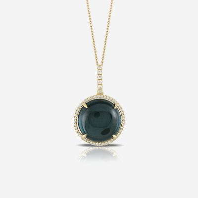 18kt blue topaz and diamond pendant
