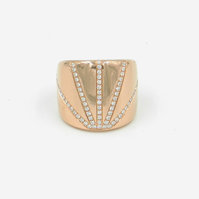 18kt rose gold pave diamond wide ring