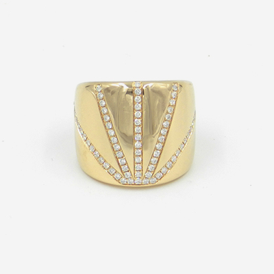 18kt yellow gold pave diamond wide ring