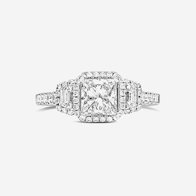 14kt princess cut diamond engagement ring