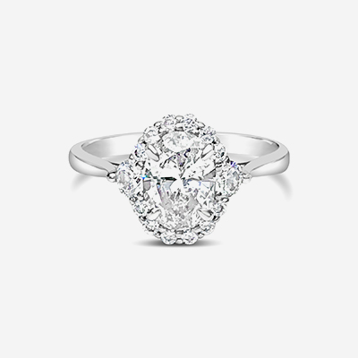 14kt oval diamond halo engagement ring