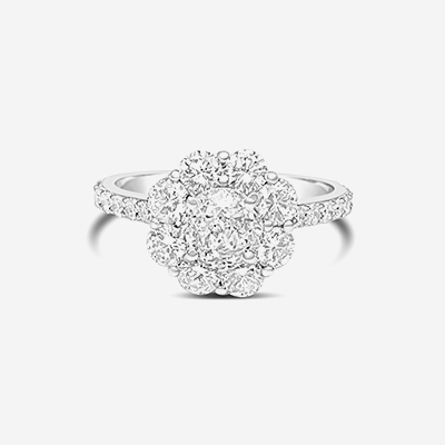 14kt diamond halo engagement ring