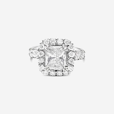18kt princess cut diamond halo engagement ring