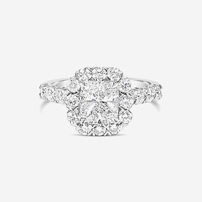18kt Cushion Center Diamond engagement Ring