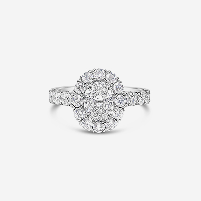 18kt oval center diamond halo engagement ring