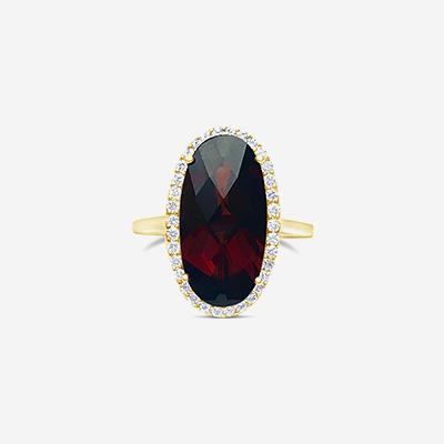 14kt oval garnet ring