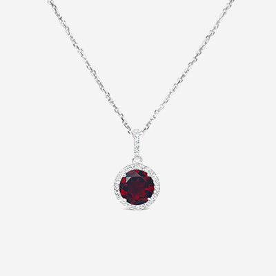 14kt garnet and diamond halo pendant